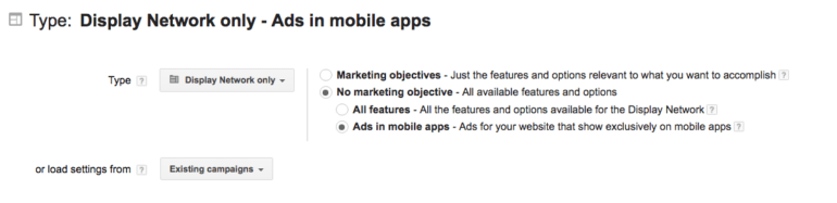 Display Network only - Ads in mobile apps