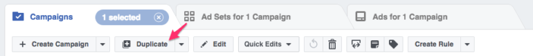 Facebook Power Editor duplicate function