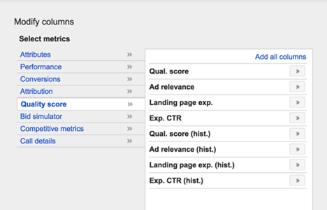 AdWords Quality Score columns