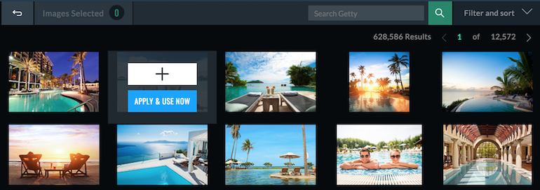 Using image element to select stock photos from Getty Images