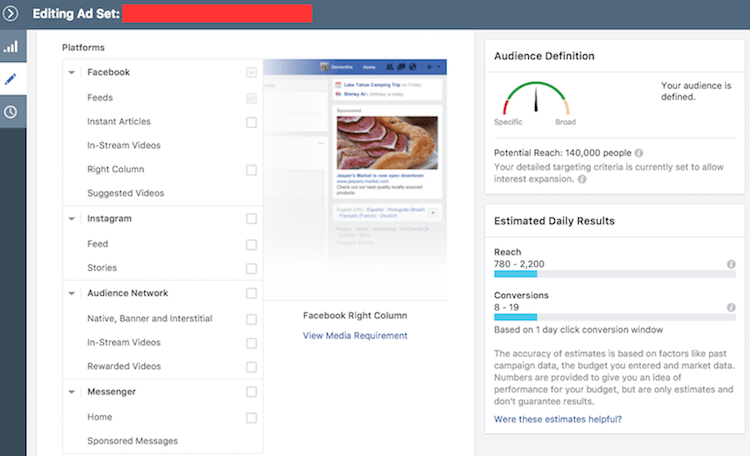 Selecting Facebook ad placement
