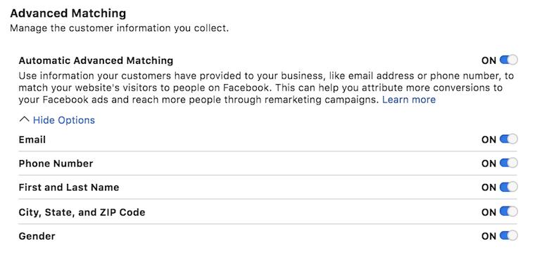 Facebook Ads Advanced Match Setting