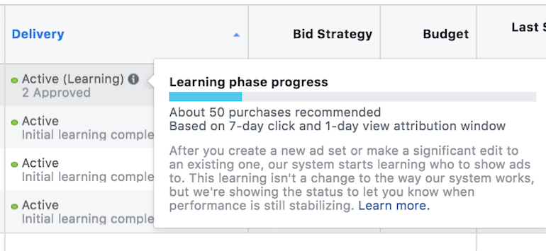 Facebook Ads Learning Phase Example