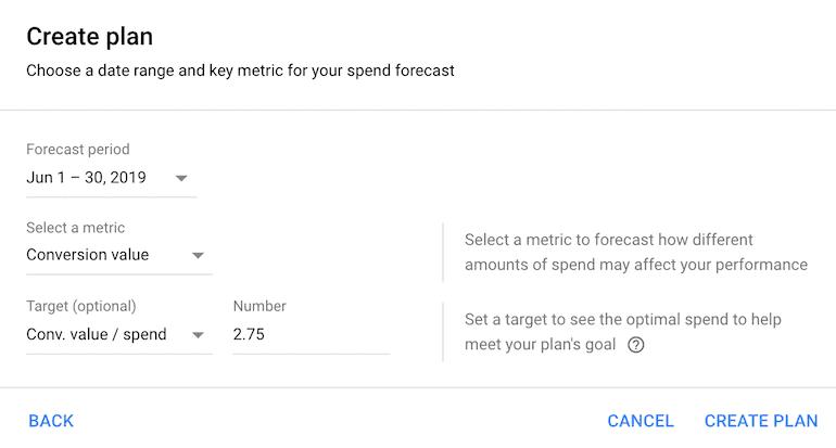 performance planner create plan settings