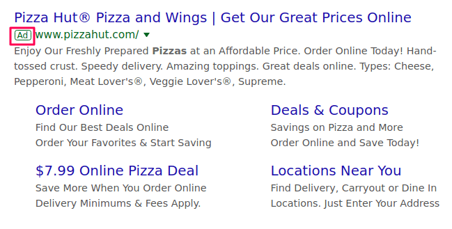 Google Ads example of pizza ad