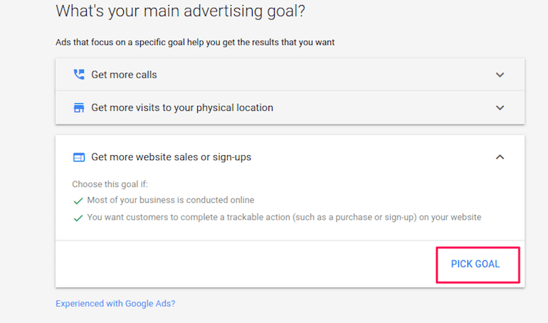 Google Ads setting screen for advertising goal selection