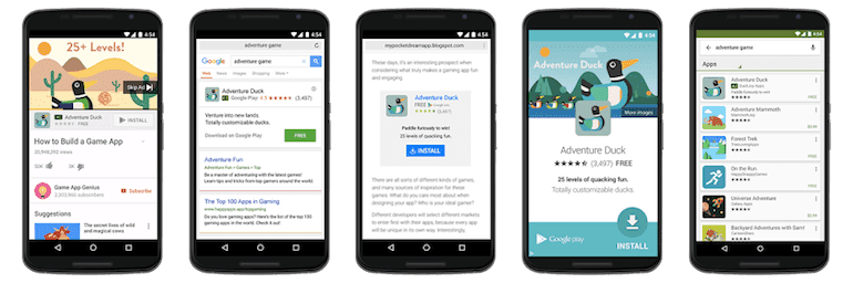 Five different examples of Google Ads universal app campaign (UAC) ad placement