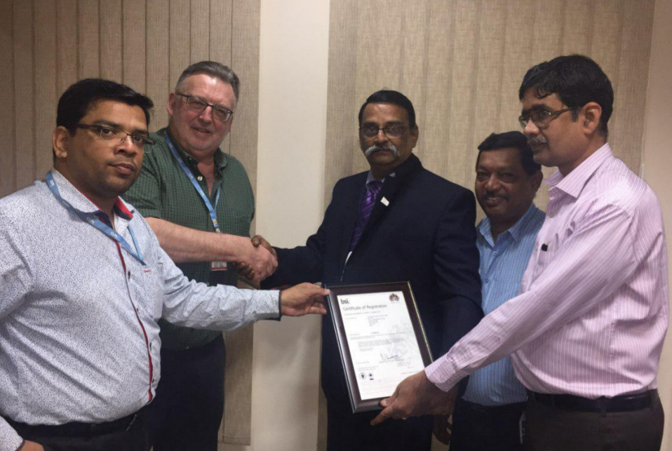 (L-R) Mr. Sriram .R – MD of Contemporary; John Thorp – Chairman of Contemporary; Mr. Umakanthan Rajagopalan – regional sales manager of BSI; Mr. Jayaraman – HR manager of Contemporary; Mr. Padmanabhan Subbaraman - Client manger of BSI