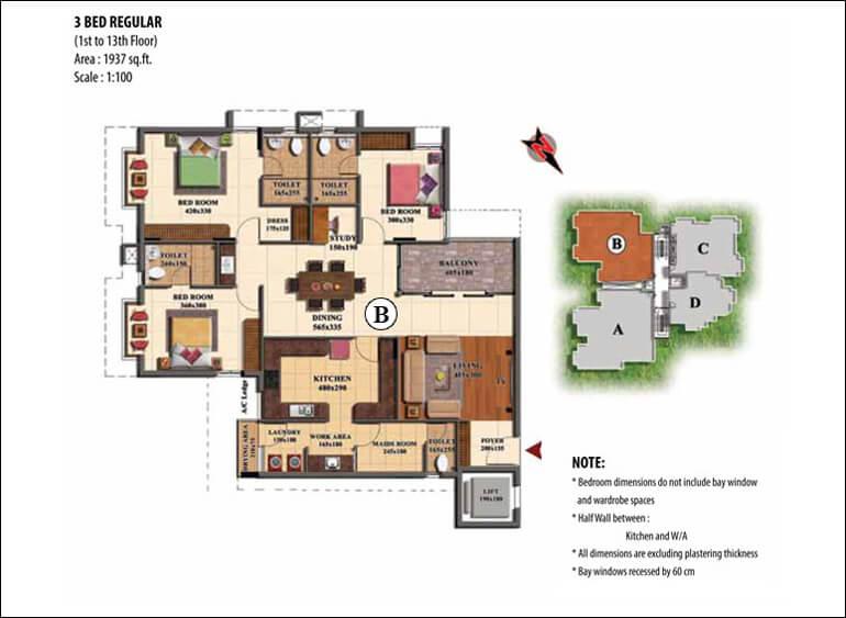 3 BHK Floor Plan - Prime Property Developers