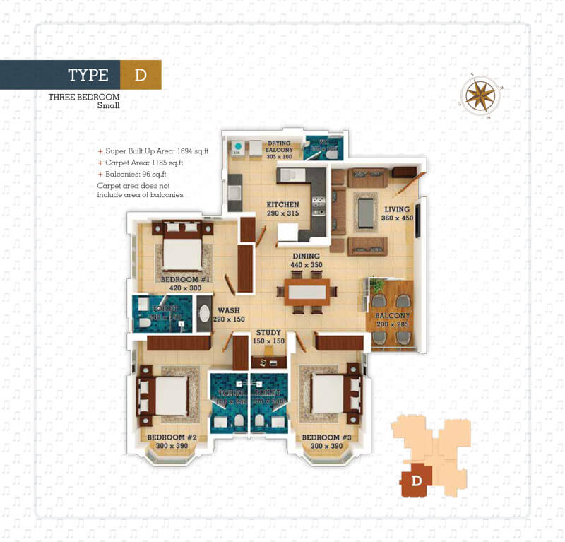 3 BHK Floor Plan - Anthem