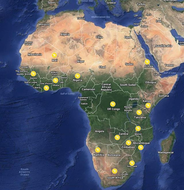 Google Map - Africa Projects