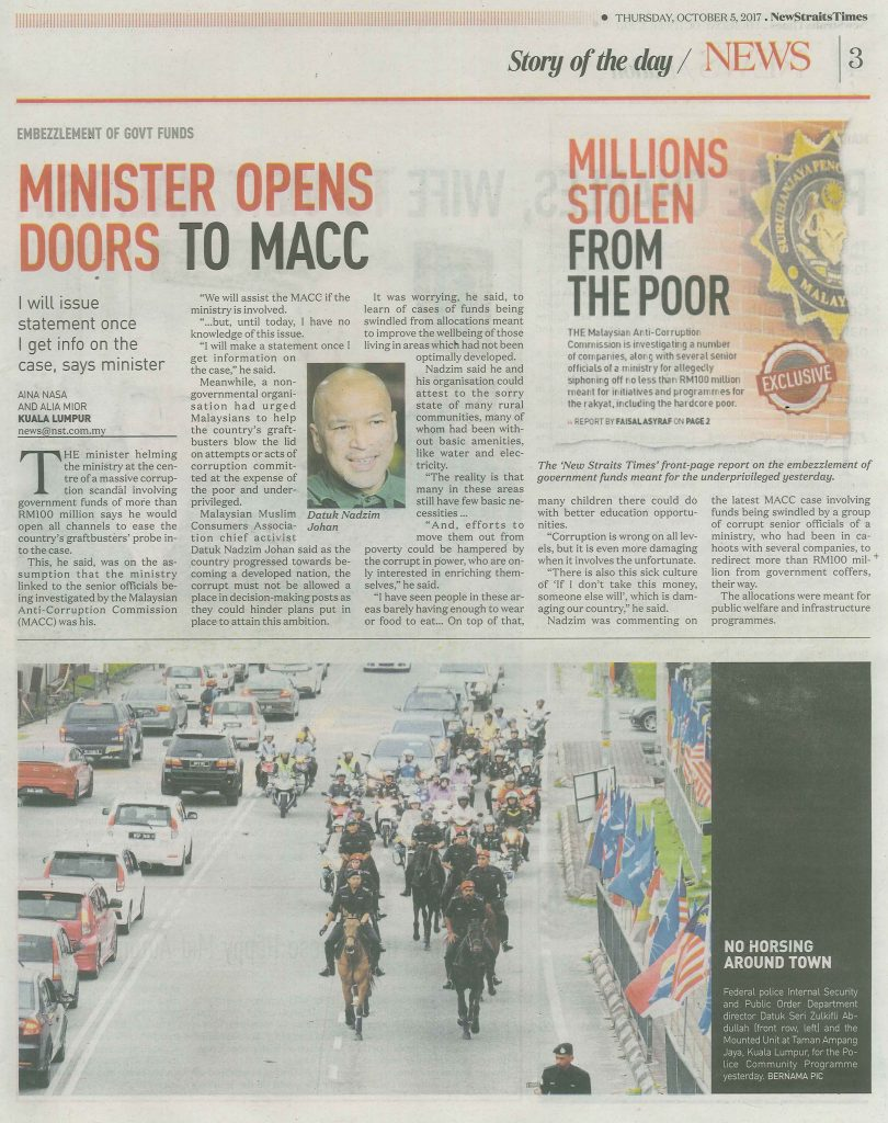 NST 5.10.17 (minister opens doors to macc)