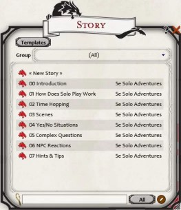 Fantasy Grounds 5e Solo Adventures control panel