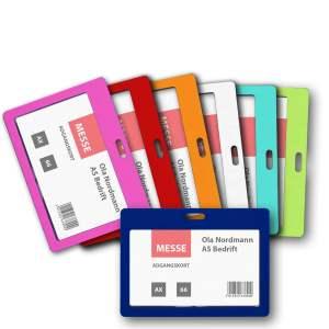 Navneskilt1706 Farger - Kortholder i farget plast for nøkkelbånd