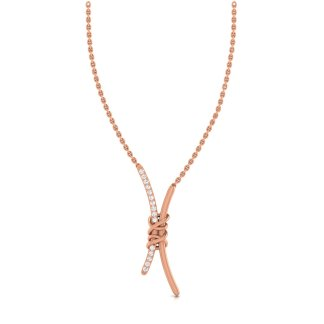 Knotted Curve Bar Necklace In Rose Gold