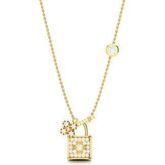Studded Gold Lock And Key Necklace