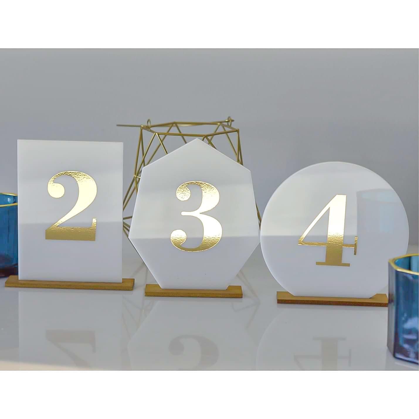 akrylowe numerki na stoły z efektem lustra