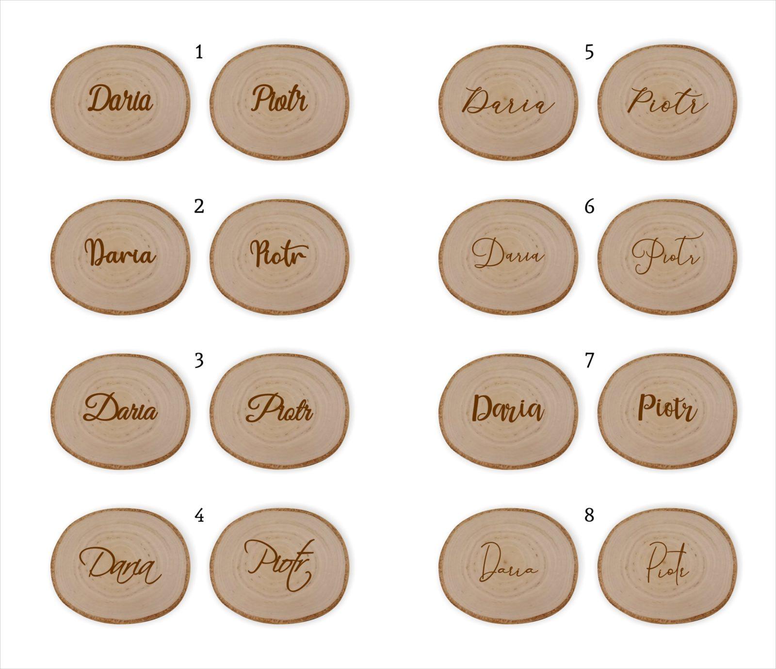 winietki na plastrze drewna grawerowane