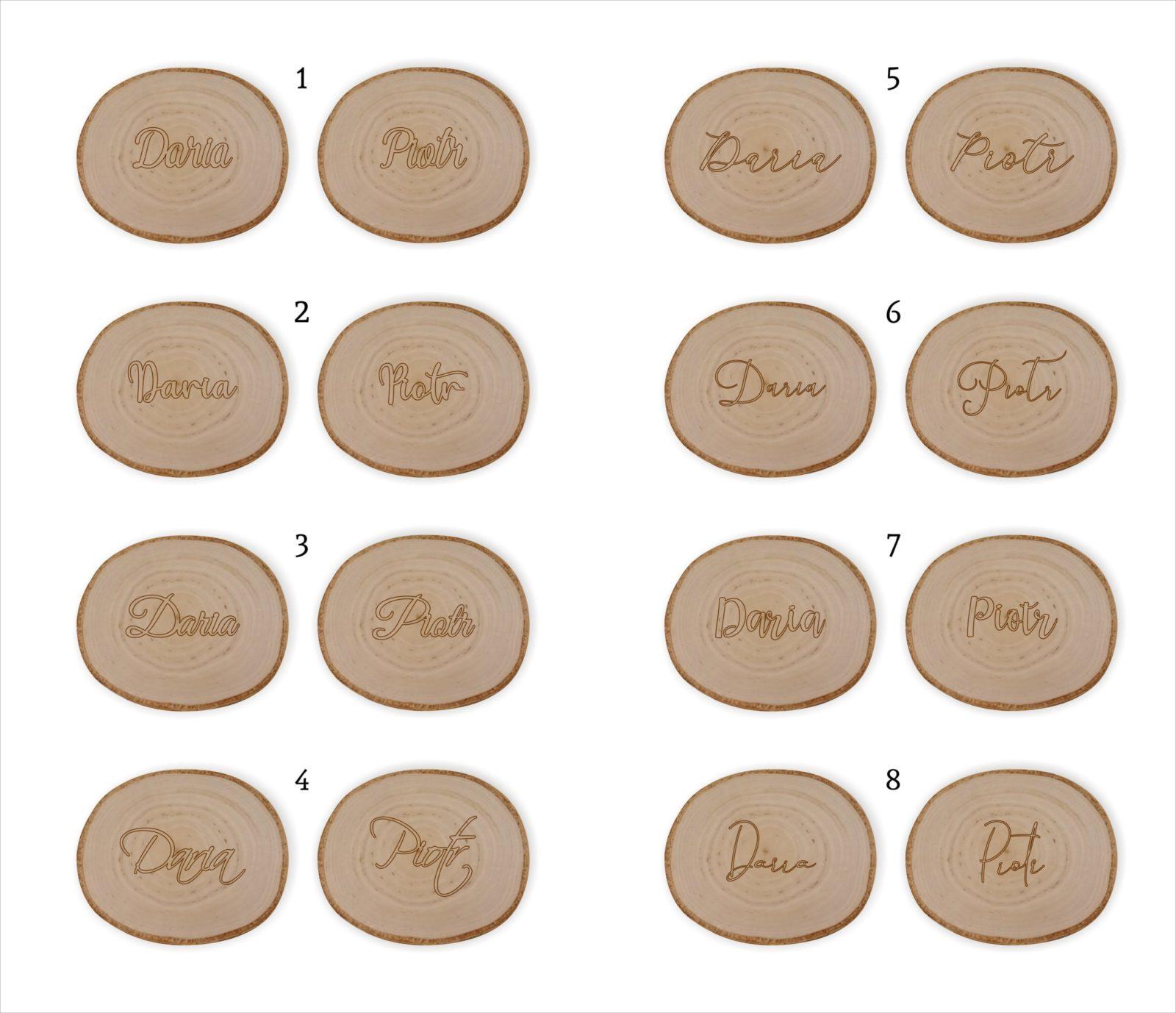 winietki na plastrze drewna kontur