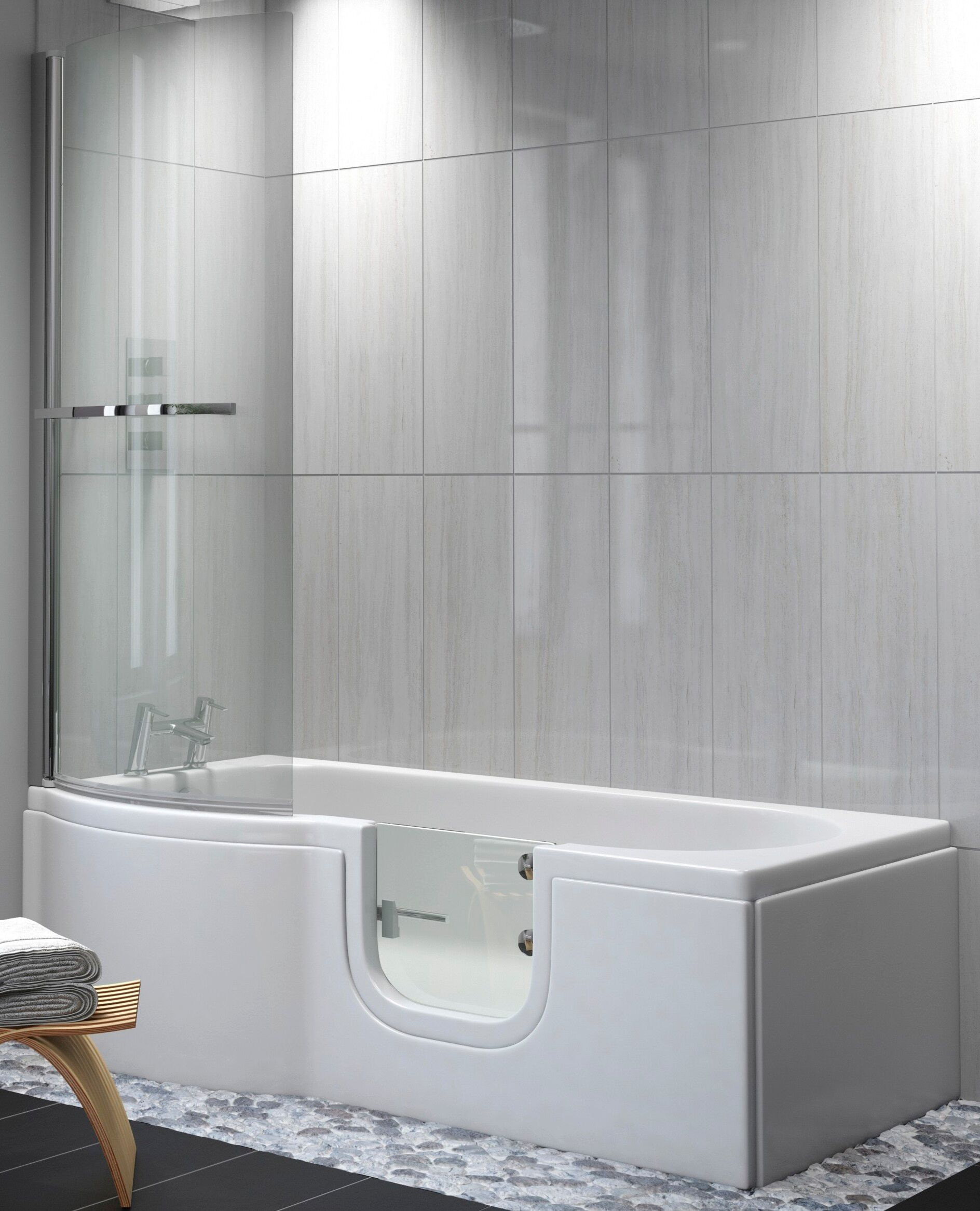 Satin Glass P Shape Walk In Shower Bath Practical Bathing