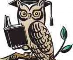 cartoon owl reading a book - illustrating an article for writers about copy or line editors