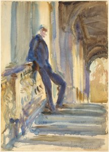 old painting of a man leaning on a stair case illustrating an article about writing for the market