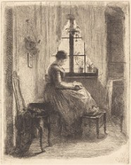 Old painting of a woman in a crinolene reading - illustrating an article about Writing For The Market
