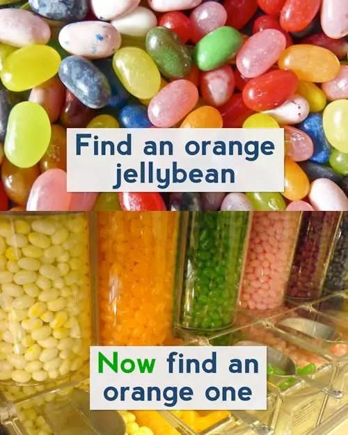 Il est difficile de chercher une gelée d'orange dans une mer d'autres couleurs. Mais si toutes les bonbons sont triés en silos par couleur, en trouver un orange n'est pas un problème.