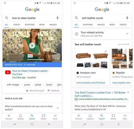 """The mobile informational search at left, (""""how to clean leather?"""") and the mobile ecommerce search at right (""""soft leather couch"""") produce different results than on desktop searches."""