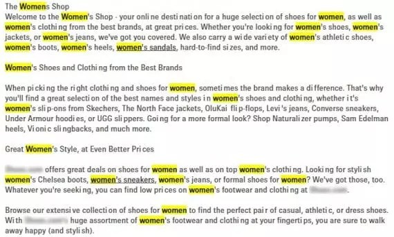 """Example of text with the word """"women"""" used 25 times."""