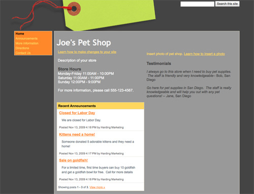 Online Store Site Template.