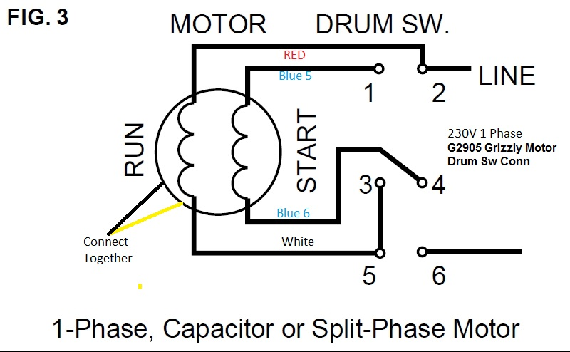 139349 9a motor drum switch wiring help furnas drum sw grizzly mtr?resize=665%2C411 wiring diagram for single phase ac motor the wiring diagram Single Phase Motor Connections at readyjetset.co