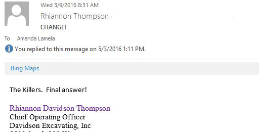 This is a screen capture of an e-mail that shows Rhiannon Thompson guessing that The Killers would perform at Sage Summit 2016.