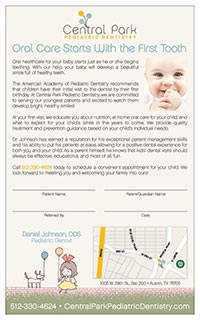 Central Park Pediatric Dentistry Referral Pad