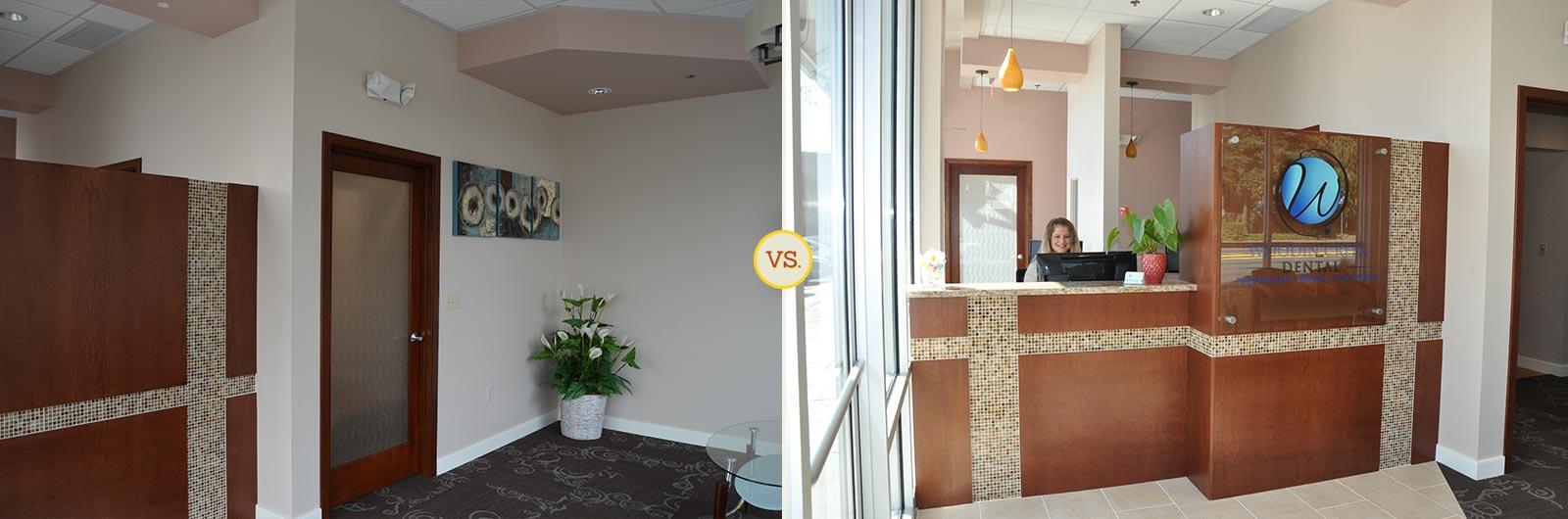 Side-by-side comparison of dental practice front desk photos