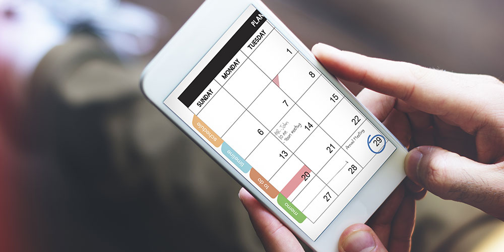Smartphone with large calendar on display
