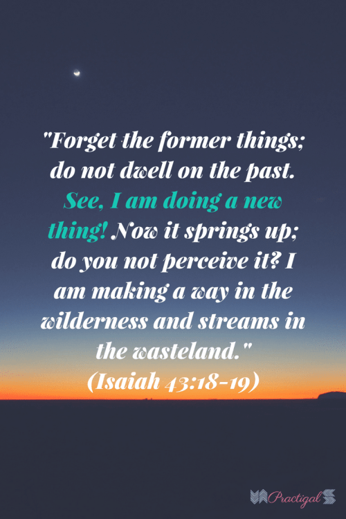 """Forget the former things; do not dwell on the past. See, I am doing a new thing! Now it springs up; do you not perceive it? I am making a way in the wilderness and streams in the wasteland.""  (Isaiah 43:18-19)"