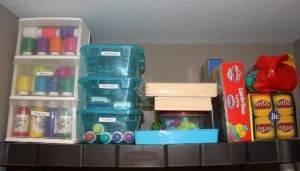 Craft bins to separate supplies and drawer organizer