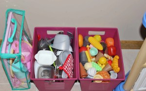 Playroom Organization. Play kitchen, food, and dishes