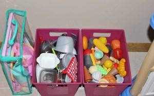 Playroom Organization. Play kitchen, food, and dishes