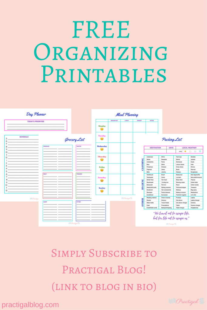 4 Free Organizing Printables: Day Planner, Grocery List, Meal Planning, and Packing List- Practigal Blog