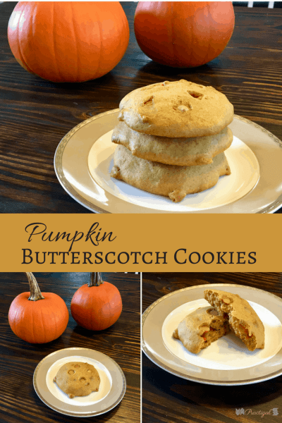 Pumpkin butterscotch cookies- the perfect fall cookie! This recipe makes big, soft cookies that like the texture of cake or a muffin! ~Practigal Blog