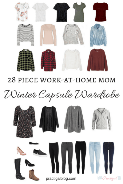 Casual clothing in my 2018 winter capsule wardrobe. Includes black, gray, white, chambray, blush, burgundy, red, and olive green. Wardrobe for the work-at-home-mom. Take a peak at the items in my winter capsule wardrobe, and even shop for the same or similar items! This capsule is created for the lifestyle of a work-at-home or stay-at-home mom.