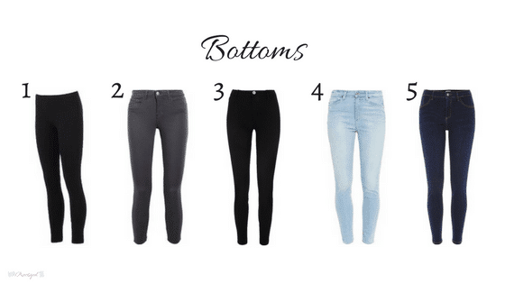 Bottoms in my 2018 winter capsule wardrobe. Includes black, gray, white, chambray, blush, burgundy, red, and olive green. Wardrobe for the work-at-home-mom.