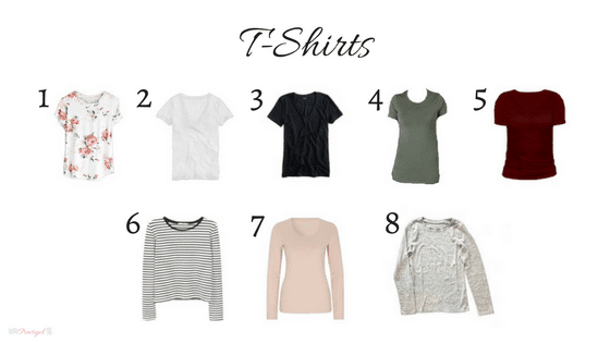 T-shirts in my 2018 winter capsule wardrobe. Includes black, gray, white, chambray, blush, burgundy, red, and olive green. Wardrobe for the work-at-home-mom.