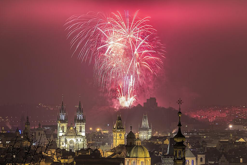 Prag Feuerwerk zu Neujahr