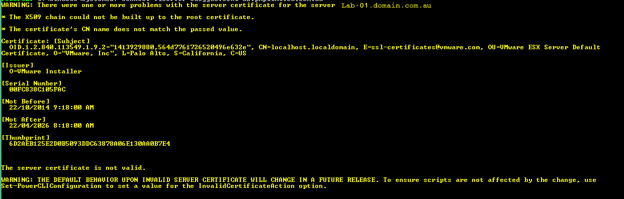 VMware PowerCLI – Suppress vCenter Certificate warnings – Pragmatic IO
