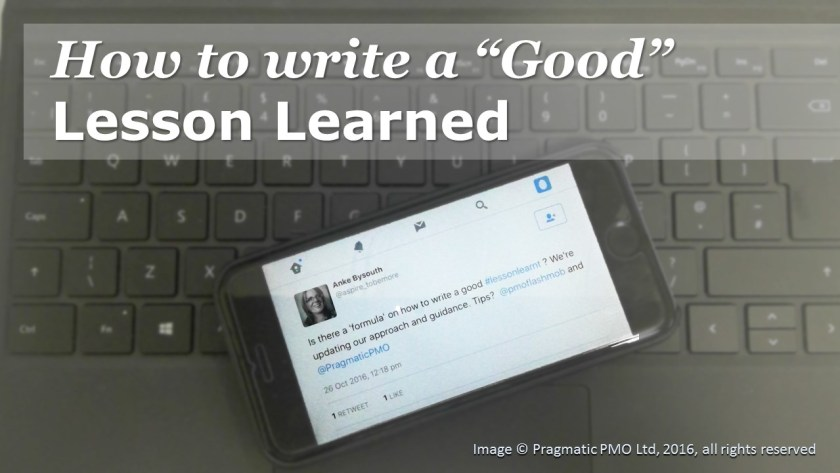 How to write a good lesson learned