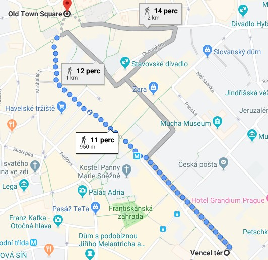 Map showing the walking distance between the Wenceslas Square and the Old Town square