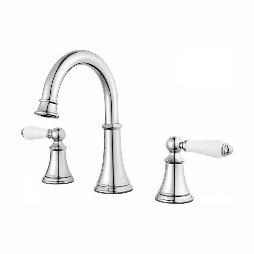 pfister courant lf 049 copc 8 in widespread 2 handle bathroom faucet in polished chrome with white handles